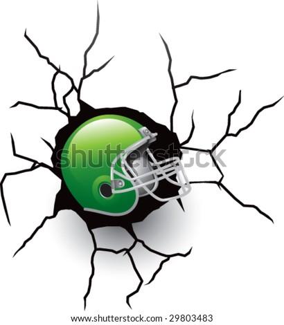 broken wall with football helmet - stock vector