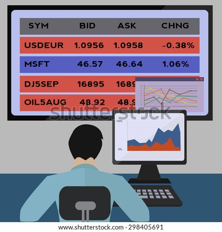 broker agent trading on the stock market - stock vector