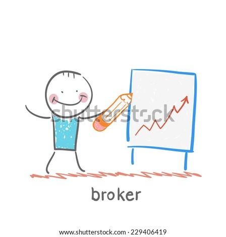 broker draws a graph - stock vector