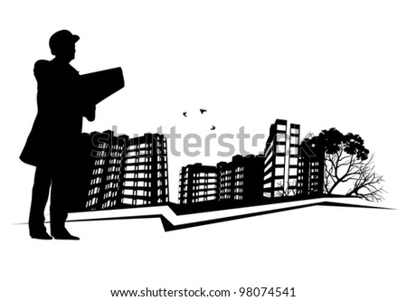 Broker inspects Real Estate - stock vector