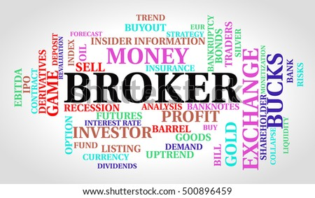 Broker word cloud. Finance concept.