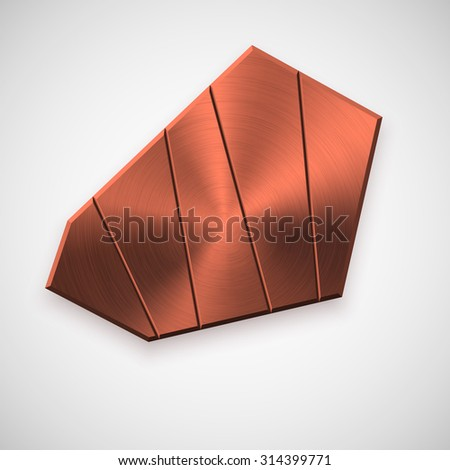 Bronze abstract geometric shape, technology badge, blank button template with metal, chrome, steel texture, realistic shadow and light background. Vector illustration. - stock vector