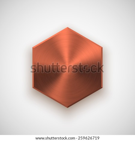 Bronze abstract polygon, hex badge, technology blank button template with metal texture (chrome, steel), realistic shadow and light background for interfaces, applications, apps. Vector illustration. - stock vector