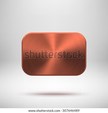 Bronze abstract rectangle badge, blank button template with metal texture (chrome, silver, steel), realistic shadow and light background for web, UI, applications and apps. Vector illustration. - stock vector