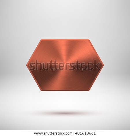 Bronze abstract technology geometric badge, blank button template with metal texture, chrome, silver, steel, copper and  realistic shadow for logo, design, web, banners, apps. Vector illustration - stock vector