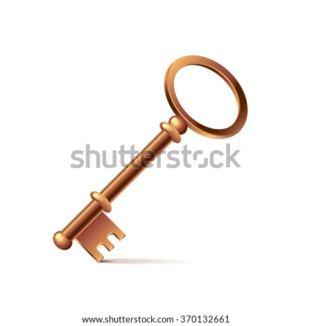 Bronze key isolated on white photo-realistic vector illustration