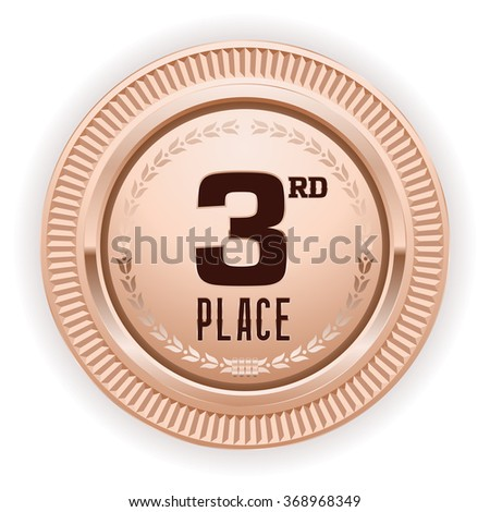 Bronze 3rd place medaille on white background