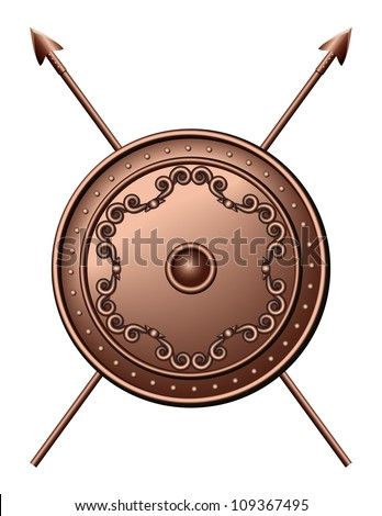 Bronze shield and crossed spears. Vector illustration - stock vector