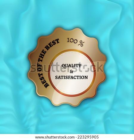 bronze stamp, sticker, or label on velvet background - stock vector