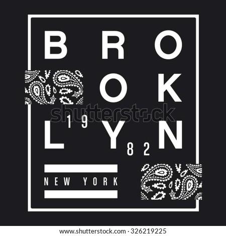 Brooklyn bandana typography, t-shirt graphics, vectors - stock vector