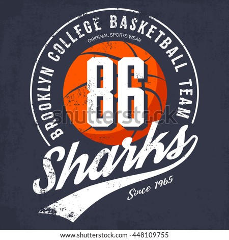 Brooklyn basketball college team logo or banner with orange ball and text in. Prefered usage as banner on sport gear or sportswear logotype or symbol, university varsity or street t-shirt - stock vector