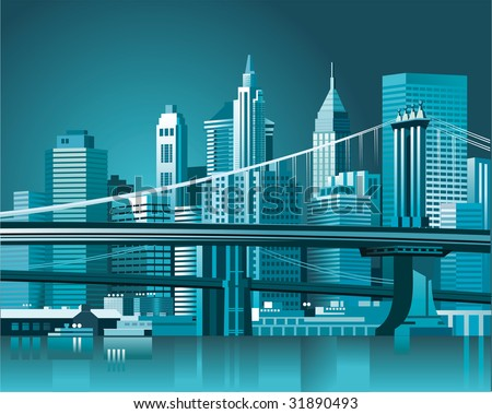 Brooklyn Bridge and Manhattan skyline At Night, New York City - stock vector