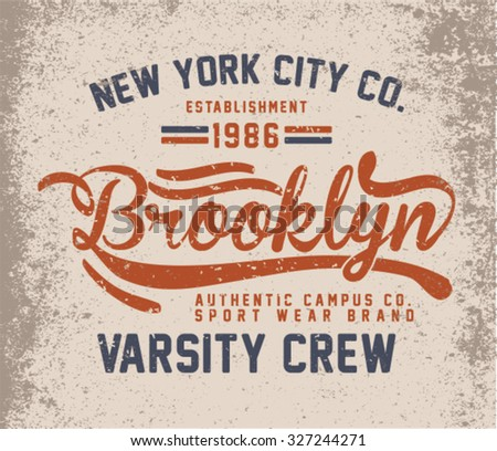 Brooklyn City Vintage graphic design with typography for t-shirts - stock vector