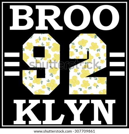 Brooklyn college sport typography, t-shirt graphics, vectors. Floral background.  - stock vector
