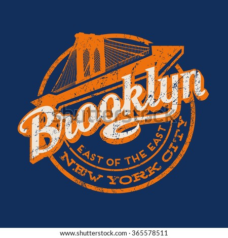 Brooklyn new york city retro vintage typography t shirt poster printing design