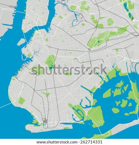 Brooklyn New York detailed vector map editable - stock vector