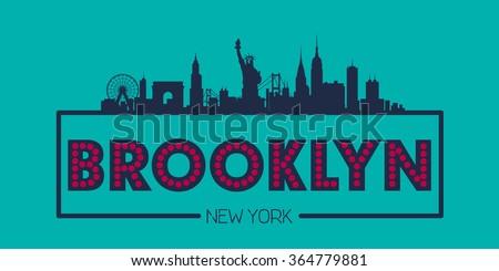 Brooklyn New York Skyline silhouette plate vector design - stock vector