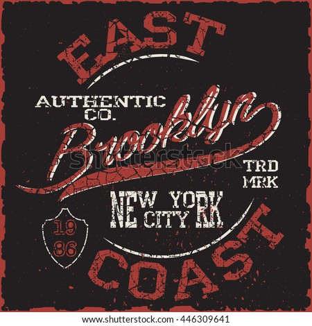 Brooklyn. New York  Sport wear typography emblem, t-shirt stamp, vintage tee, athletic apparel design graphic print - vector