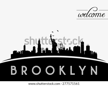 Brooklyn New York USA skyline silhouette, black and white design, vector illustration - stock vector