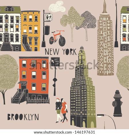 Brooklyn Seamless Pattern - stock vector