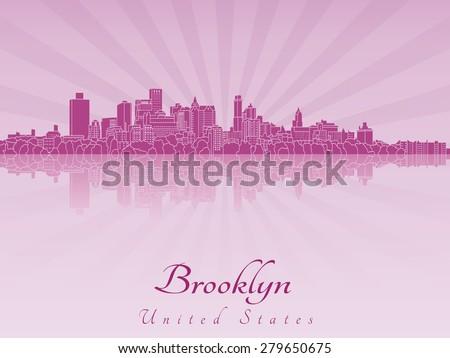 Brooklyn skyline in purple radiant orchid in editable vector file - stock vector
