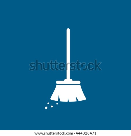 Broom Flat Icon On Blue Background