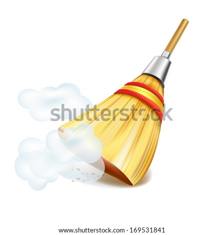 broom in dust clouds isolated on white backgrounds - stock vector