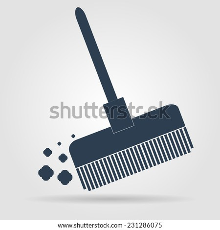 Broom vector icon Flat vector illustrator Eps  - stock vector