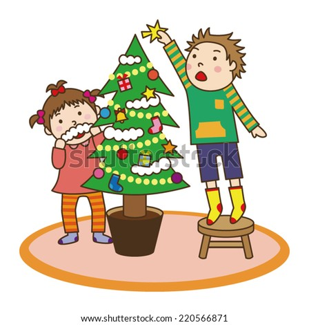 Brother and sister decorate the Christmas tree. - stock vector