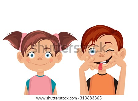 Brother and sister. Vector flat illustration - stock vector