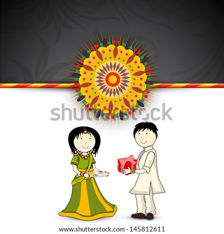 Brother giving gift to his sister's on the occasion of Indian festival Rakshabandhan.  - stock vector