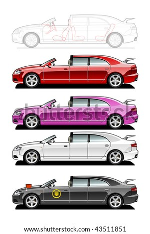 Brougham. part of my collections  of Car body style. Simple gradients only - no gradient mesh - stock vector