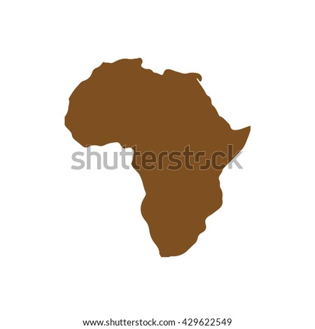 Brown Africa continent / vector illustration - stock vector