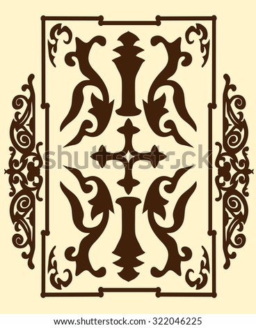 Brown ancient vintage ornament on sand background in style of gladiator war shield with a cross. Vector illustration - stock vector