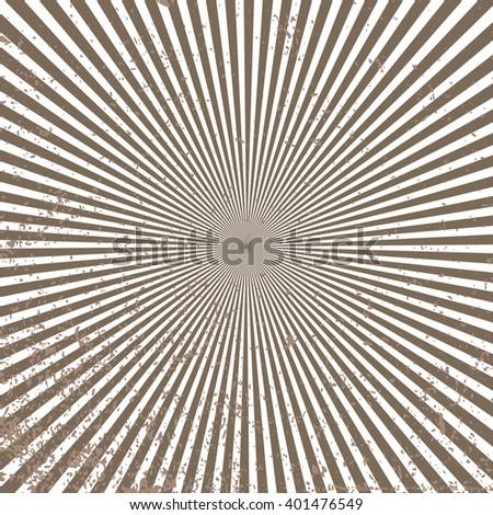 brown and beige retro sunburst pattern vector, radial striped vintage background design - stock vector