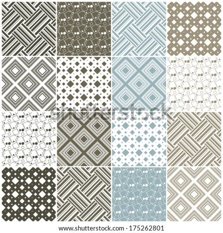 brown and blue geometric seamless patterns with squares and stripes, vector illustration