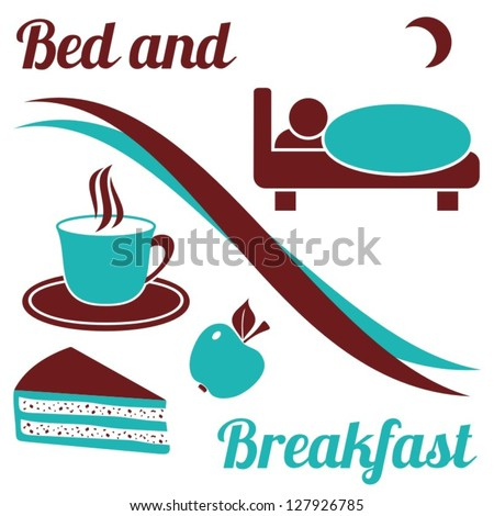 Brown and turquoise bed and breakfast with text on white background - stock vector