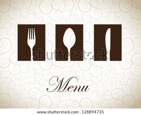 Brown and white cutlery over vintage background vector illustration - stock vector