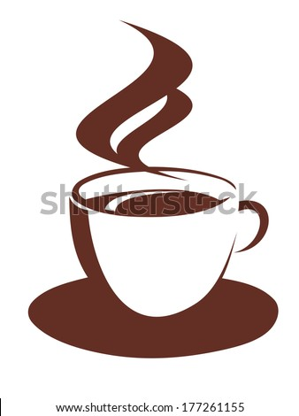 Brown and white doodle sketch of a steaming cup logo and saucer of freshly brewed coffee - stock vector