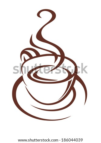 Brown and white doodle sketch of a steaming cup of coffee logo on a saucer with twirling steam for fast food or restaurant design - stock vector