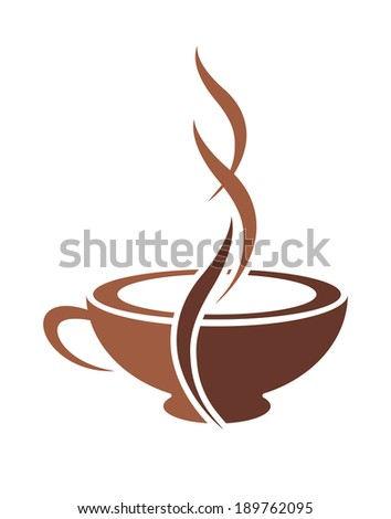 Brown and white vector doodle sketch of a stylish cup of steaming cappuccino coffee - stock vector