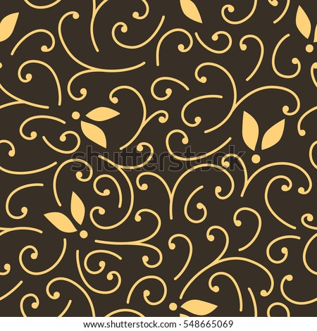 Brown and yellow seamless pattern with leaves