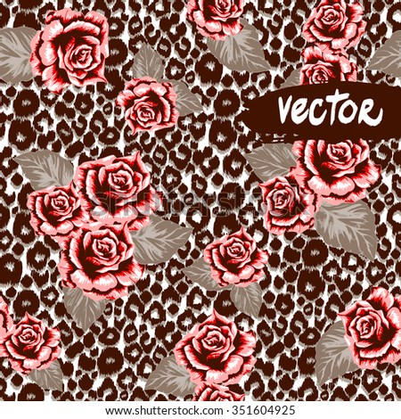 Brown animal pattern seamless on leopard print background. Vector roses pattern and leo spots pattern design. Hand drawn floral template. Vector rose vintage style - stock vector