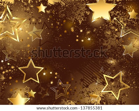 brown background decorated with sparkling texture and golden stars - stock vector