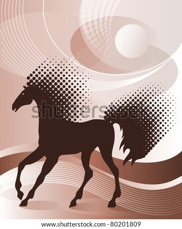 Brown background with horse - stock vector