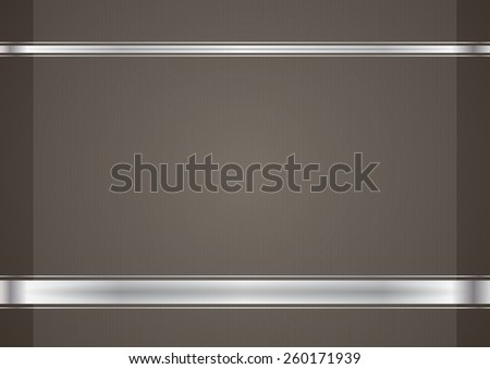Brown background with silver ribbons - stock vector