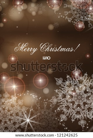 Brown background with snowflakes. Vector illustration. Eps 10.