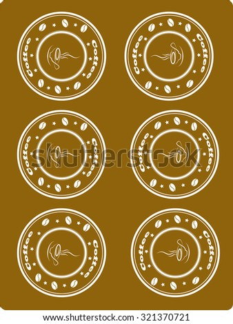 Brown background with stamp with coffee, vector - stock vector