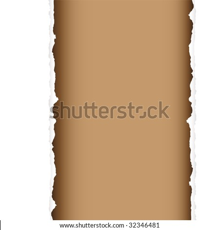 brown background with torn edges and white paper strip - stock vector