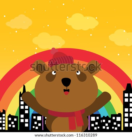 Brown bear and rainbow in the city - stock vector